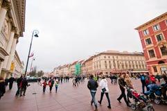 People on Krakowskie Przedmiescie Street, Warsaw, Poland Royalty Free Stock Photography