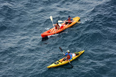 People kyaking in the Adriatic sea, Croatia Royalty Free Stock Image