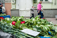People in Kyiv honors the memory of those killed in terrorist attack in Manchester. Royalty Free Stock Photo