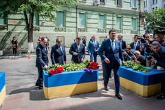 People in Kyiv honors the memory of those killed in terrorist attack in Manchester. Royalty Free Stock Photos