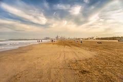 People on La Malvarrosa beach Valencia, Spain royalty free stock images