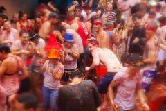 People in La Tomatina festival Stock Photo