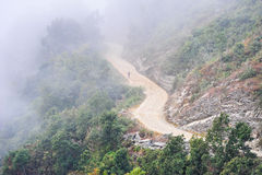 People on the lacol road on the mountains in Pokhara Stock Images