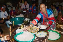 People of the Lahu Muser hill tribe celebrate end of the rice harvesting season in Mae Hong Son, Thailand. stock images