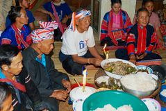 People of the Lahu Muser hill tribe celebrate end of the rice harvesting season in Mae Hong Son, Thailand. Mae Hong Son, Thailand - November 15, 2008 stock image