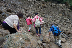 People in landslide destroy. Located in Sichuan,China royalty free stock image
