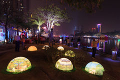 People at the lantern festival in Kaohsiung, Taiwan by the Love River. Stock Photos