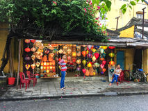 People at the lantern shop in Hoi An, Vietnam Royalty Free Stock Image