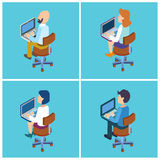 People with Laptop. Isometric People Stock Photos