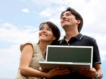 People with laptop outdoors Royalty Free Stock Photos