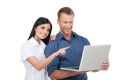 People with laptop. Royalty Free Stock Photo