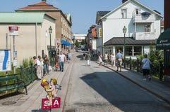 People on the Large bridge Street Norrtalje Stock Photos