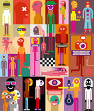 People. Large group of people. Art composition of abstract portraits - vector illustration Royalty Free Stock Image