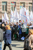 People with a large number of white flags. Stock Photos