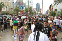 People on Las Vegas Boulevard. A lot of people on Las Vegas Boulevard getting ready for an event Stock Photography