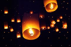 People launch sky lanterns to the sky in Loy Kratong festival Royalty Free Stock Images