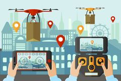 People launching drones by different applications in big city. Modern technologies concept device vector illustration