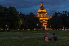 People on the lawn of the St. Isaac`s Cathedral Stock Image