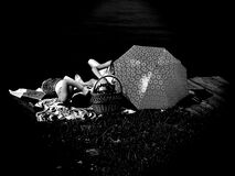 People Laying on Blanket Grayscale Photo Royalty Free Stock Photo