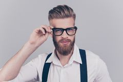 People leader leadership career corporate concept. Close up port. Rait of handsome fancy clever dreamy thoughtful pensive elegant groomed chic posh guy touching Stock Photos