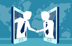 People leading business in network shaking hands. vector illustration