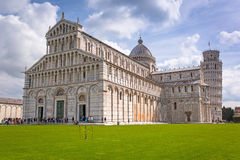 People at the Leaning Tower of Pisa in Italy. PISA, ITALY - APRIL 11, 2015: People at the Leaning Tower of Pisa in Italy. Pisa is a city in Tuscany known Stock Photography