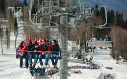 People leave sporting object by ropeway with open Stock Photos