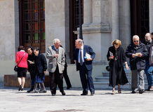 People Leaving Church. Service on Easter Sunday in Heraklion Crete Greece royalty free stock image