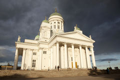 People leaving helsinki cathedral in the evening after concert Stock Photos