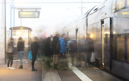 People leaving on train Royalty Free Stock Photos