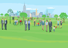 People at leisure in park. People at leisure in city park royalty free illustration
