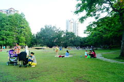 People in the leisure park lawn, China Royalty Free Stock Image