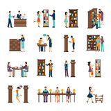 People In Library Icon Set Stock Photos