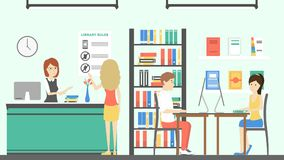 People at library. Books on bookshelf with catalogue vector illustration