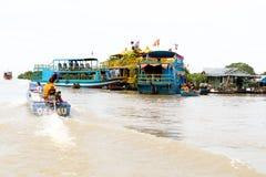 People Life At Floating Village On Tonle Sap Lake. Siem Reap Cambodia. Royalty Free Stock Image