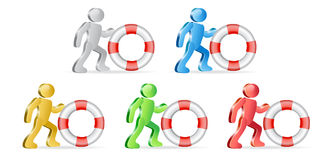 Humans and lifebuoy. People and life preserver. Theme support. Group of people in different colors. Vector Illustration Stock Photo
