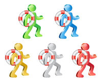 Humans and lifebuoy. People and life preserver. Theme support. Group of people in different colors. Vector Illustration Royalty Free Stock Photos