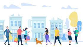 People Lifestyle in City. Men and Woman Walking, royalty free illustration