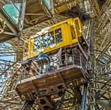 People in the lift at the southern tower of the Eiffel tower. PARIS, FRANCE - JUNE 10, 2015: people in the lift at the southern tower of the Eiffel tower in Stock Images