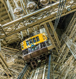 People in the lift at the southern tower of the Eiffel tower. PARIS, FRANCE - JUNE 10, 2015: people in the lift at the southern tower of the Eiffel tower in Stock Photography