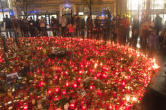 People light candles in honor of Vaclav Havel Stock Photography