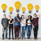 People with lightbulb icon on their head. S Royalty Free Stock Images