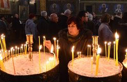 People Lighting Candles for a Religious Feast in a Church in Sofia, Bulgaria January 2018 Stock Photography