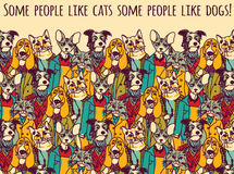 People like cats and dogs with sign color Stock Photo