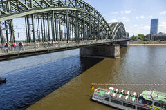 People like to walk on the bridge Stock Photos