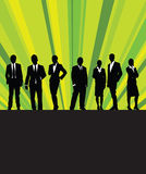 People in a line. People in a business with rays of green light in the background Stock Photos