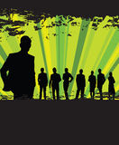 People in a line. Men and woman in a line with  green ray background Royalty Free Stock Photography