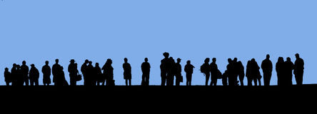 People in line. Silhouette stock images