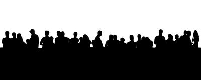 People in line (EPS format available). Silhouette - people standing in line stock illustration