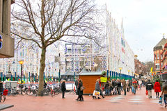 People in line for the ice rink in the Dutch city of Eindhoven. Stock Image